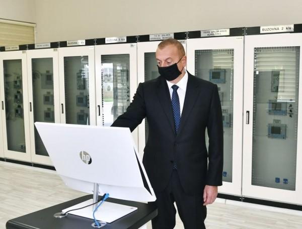 Prezident İlham Əliyev Xəzər rayonunda yarımstansiyanın açılışında iştirak edib (FOTO)