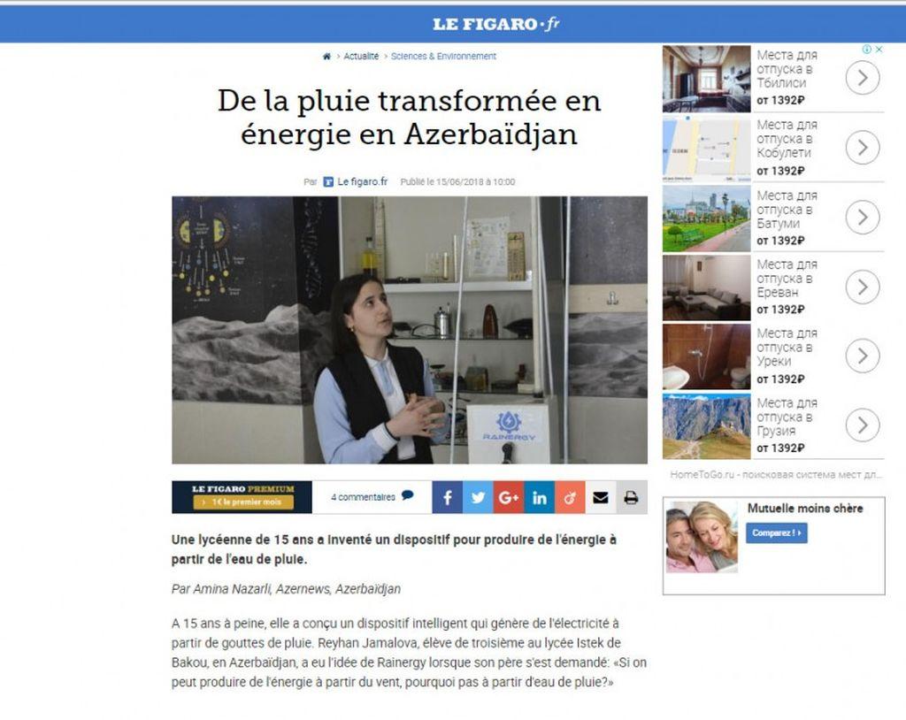 """Fransanın """"Figaro"""" qəzeti azərbaycanlı məktəbli Reyhan Camalovanın ixtirasından yazıb"""
